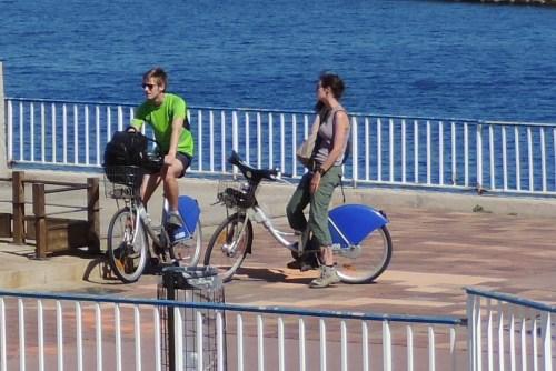 Biking along the water.